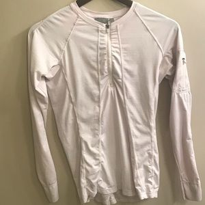 Athleta pale pink zip up contour long sleeve top